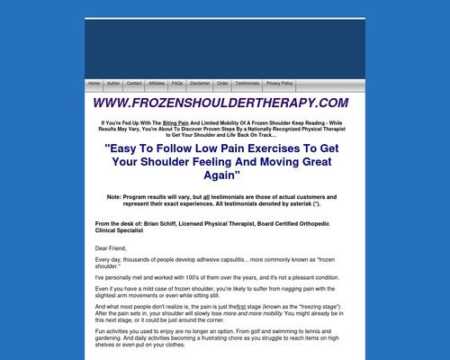 Proven treatment for frozen shoulders, shoulder pain & stiffness - FROZENSHOULDERTHERAPY.COM