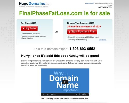 HugeDomains.com - FinalPhaseFatLoss.com is for sale (Final Phase Fat Loss)